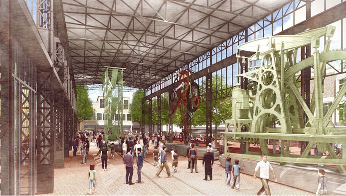 Impressie van het ontwerp  voor van architectenbureau West8  Hijsch-replica Markt Hengelo. Van tweede hal met industriële geschiedenis.