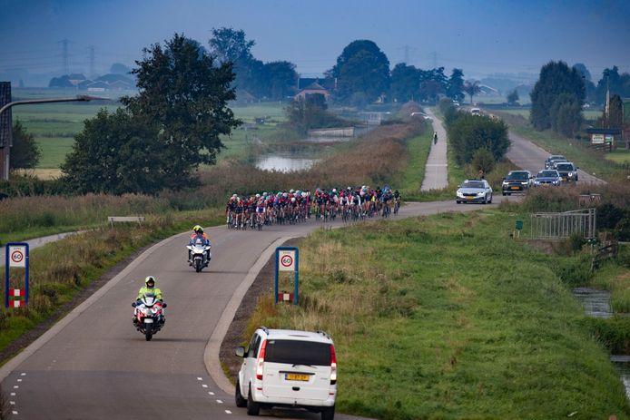 Het vrouwenpeloton raast over de Wolfshagenweg bij Hasselt tijdens de GP Anna van der Breggen.