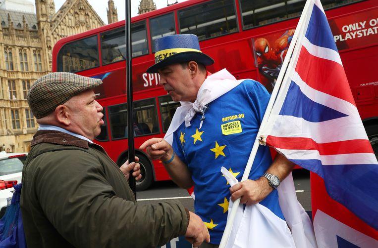Voor- en tegenstanders van de brexit betoogden deze week voor de Houses of Parliament in Londen.