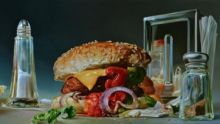 Tjalf Sparnaay, Foodscape, 2014, olieverf op linnen, 120 x 300 cm, te zien in de Kunsthal in Rotterdam. Beeld Moveo Art Collection