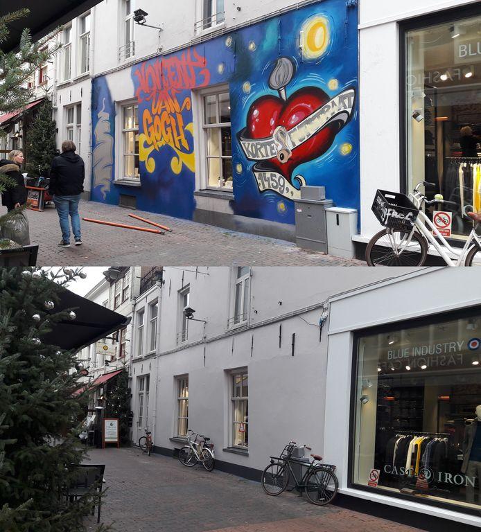 De muur in de Korte Putstraat is weer wit