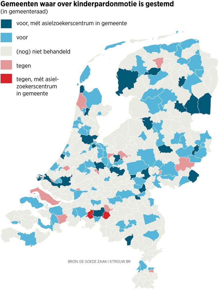 Gemeenten waar over kinderpardon gestemd is. Beeld Trouw/Sander Soewargana