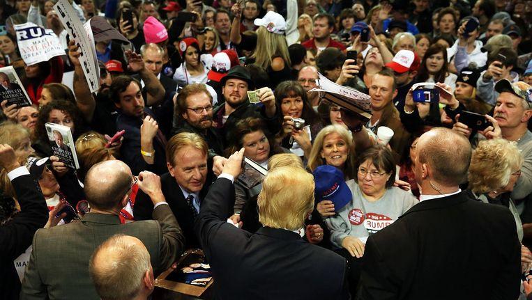 Donald Trump praat met aanhangers in Biloxi, Mississippi, januari 2016. Beeld getty