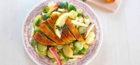 Wat Eten We Vandaag: Appel-spruitjessalade met krieltjes en kipschnitzel