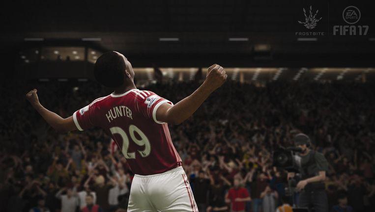 En Hunter scoort! In FIFA 17 kruipen we in de huid van een onbekend voetballertje die het schopt tor prof. Beeld EA Sports