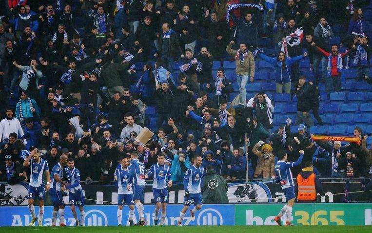 Vreugde in het Estadi Cornellà-El Prat na de goal van Moreno.