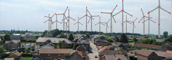 Zo zal de horizon van Millen (Riemst) eruitzien, als de aanvragen voor de windmolens worden goedgekeurd.