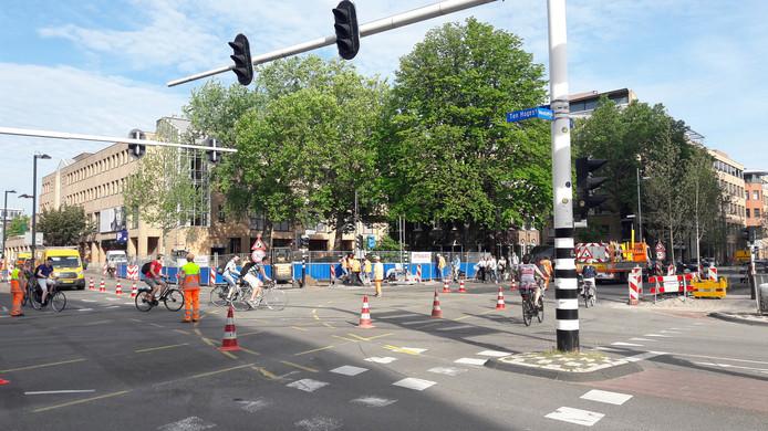 Chaos bij start werk nieuwe fase Vestdijk-Kanaalstraat in Eindhoven.