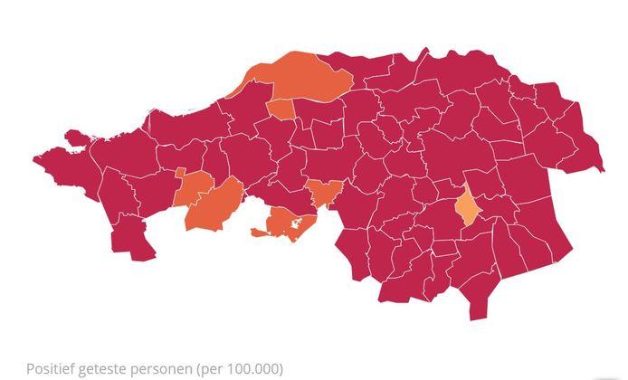 Het aantal besmettingen per 100.000 inwoners, per gemeente.