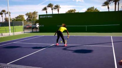 De vloer aanvegen met Sharapova was geen probleem. Maar het populairste trucje onder tennissers kan Japanse niet uitvoeren