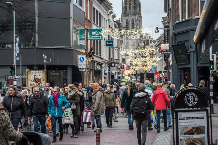 Kerstdrukte in de binnenstad.