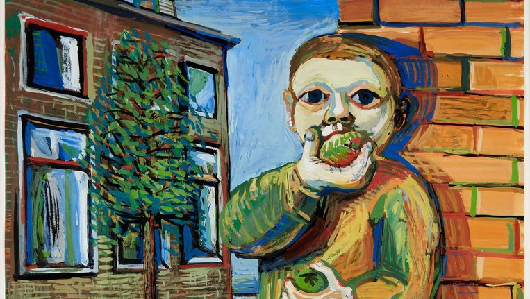Appel-etende jongen (1954) Beeld Co Westerik