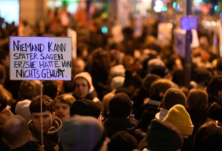 Betoging in Thüringen tegen de benoeming van Thomas Kemmerich tot minister-president van de Duitse deelstaat. Beeld null