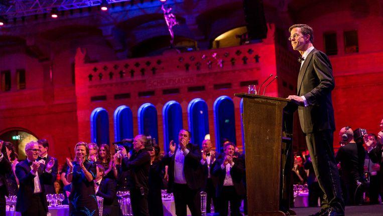 Mark Rutte kreeg een staande ovatie. Beeld anp