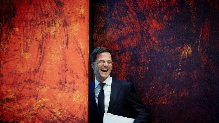 Premier Mark Rutte tijdens een overleg in de Tweede Kamer over een aanstaande Europese top. Beeld anp