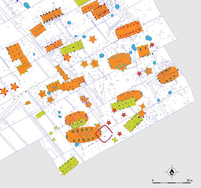 Uitsnede van de (werk-)kaart met woonsporen uit prehistorie (groen) en Middeleeuwen (oranje). Zichtbaar zijn ook diverse hooimijten. De rode sterren duiden op grafplekken.