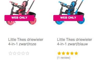 sIdentiek speelgoed, alleen kleur én prijskaartje verschillen
