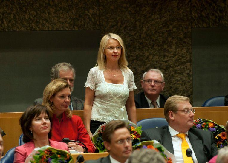 Berckmoes-Duindam op haar eerste dag in de Kamer, het begin van vijf jaar op de achterste bankjes. Beeld ANP