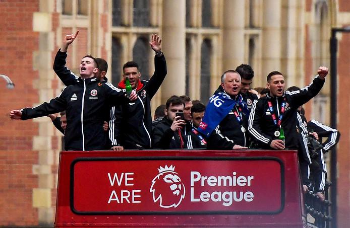 Sheffield United viert de promotie naar de Premier League.