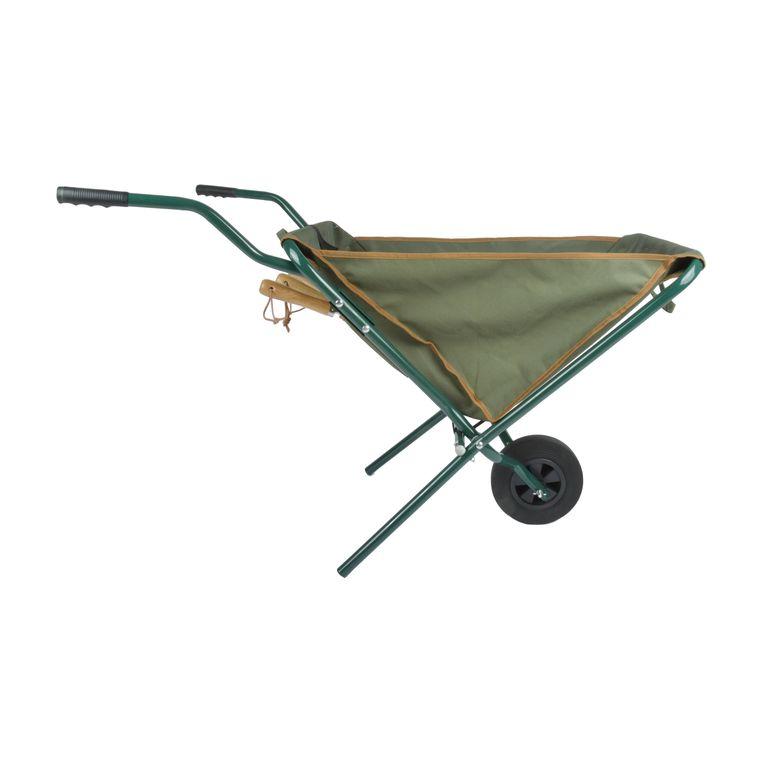 Opvouwbare kruiwagen van Esschert Design, voor klein tuinonderhoud, € 63,95.  Fonq.nl Beeld