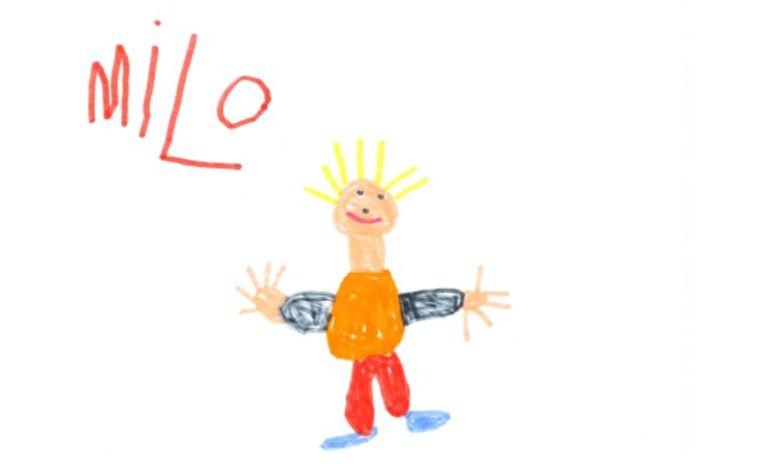 Op de overlijdensbrief staat een tekening van Milo.