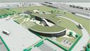 Een ouder schetsontwerp van het verkeercentrum, gesitueerd tussen het sportpark van Berghem en de Weg van de Toekomst (rechtsboven).