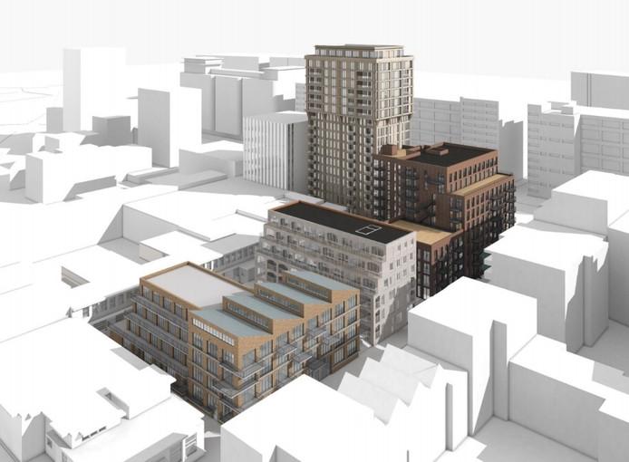 Het woningbouwplan S-West op Strijp-S, met linksonder het NatLab en de Ir. Kalffstraat, bovenaan de gebouwen Anton en Gerard aan de Torenallee. Het plan van MRP Development is ontworpen door Jeroen Schipper uit Rotterdam.