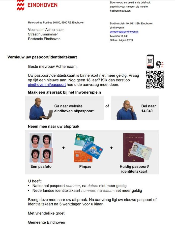Beeldbrief van de gemeente Eindhoven, een proef voor inwoners van wie paspoort of id-kaart verloopt.