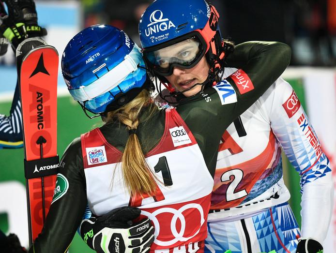 Mikaela Shiffrin en Petra Vlhova.