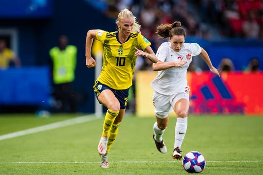 Sofia Jakobsson uit Zweden (l) en Allysha Chapman uit Canada