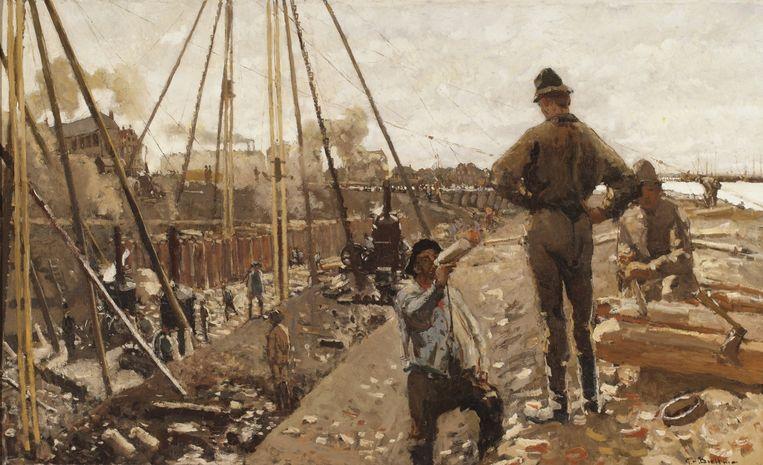 Breitners Heiwerk aan de Van Diemenstraat uit 1897. Beeld null