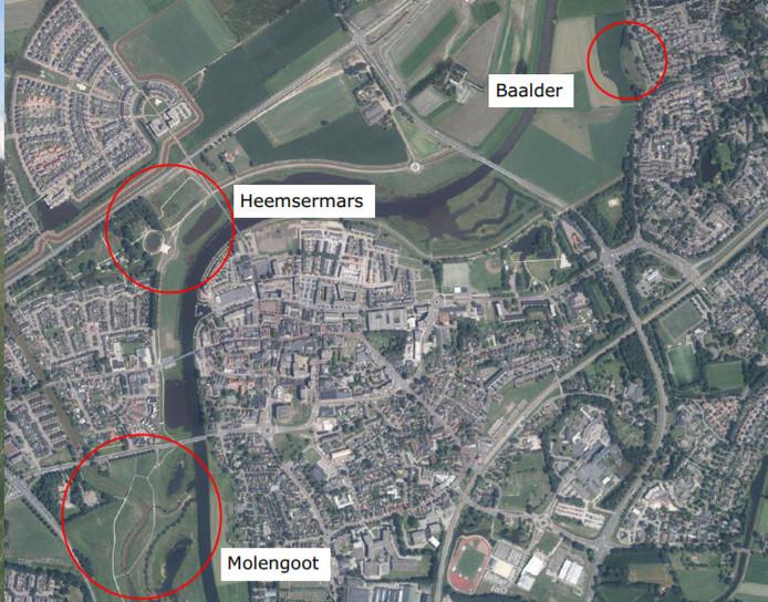 De plekken waar de hotspots van de trimbaan in Hardenberg komen.