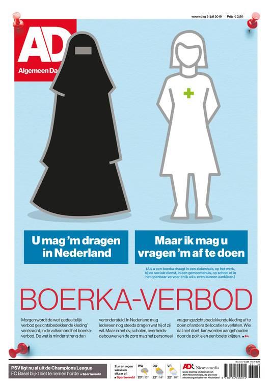 Voorpagina AD over boerkaverbod.