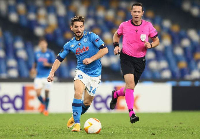 Napoli's Dries Mertens Napoli in action against Rijeka during their group F soccer match of the Europa League, at the San Paolo stadium in Naples, Italy, Thursday, Nov. 26, 2020. (Alessandro Garofalo/LaPresse via AP)