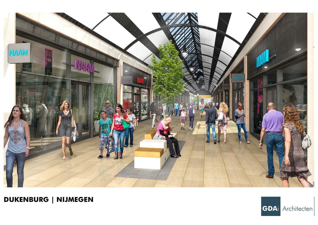 Winkelcentrum Dukenburg zoals beoogd na de opknapbeurt.