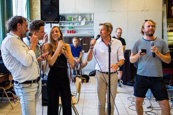 Willy Sommers, Daan Pawlowski, Laura Groeseneken (Sennek) and Rik Verheye tijdens de repetities