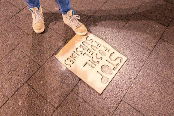 Youth & Students for Climate krijtboodschappen op straat