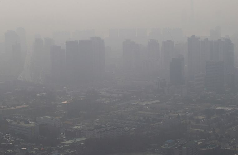 Luchtvervuiling boven Seoul, Zuid-Korea.