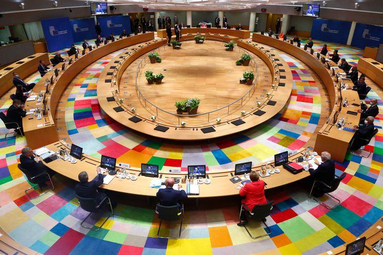 De regeringsleiders van de Europese Unie vrijdag bijeen in Brussel.  Beeld EPA