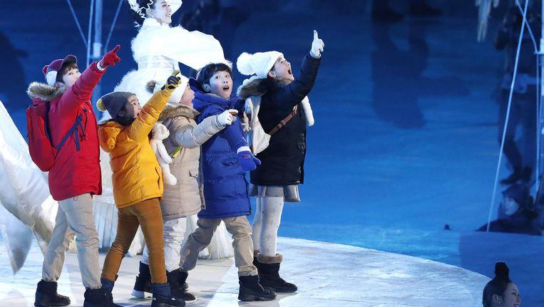 De Koreaanse kinderen die een rol speelden tijdens de openings- en sluitingsceremonie. Beeld afp