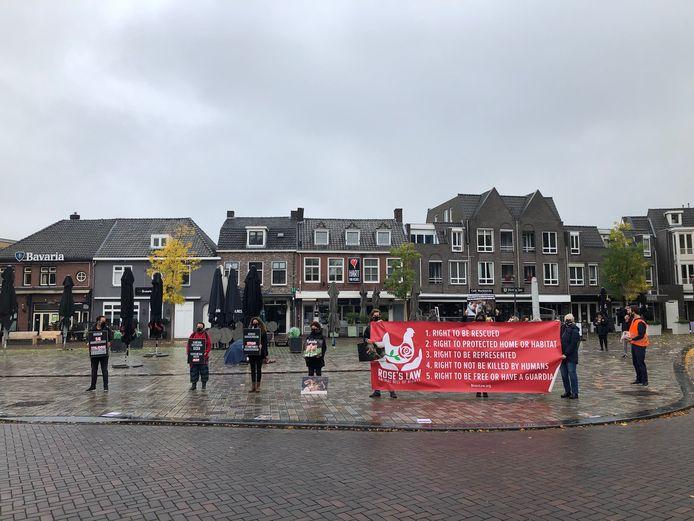 Zo'n zestien actievoerders protesteerden op de Markt vreedzaam tegen de Veghelse varkenswinkel Oijnk.