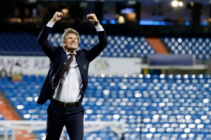 Edwin van der Sar na de overwinning op Real Madrid