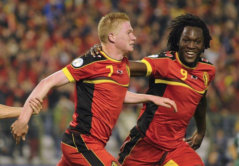 De Bruyne en Lukaku vieren goal Beeld anp