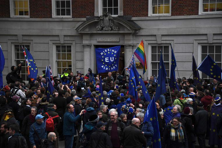 Enkele honderden tegenstanders van de brexit stapten van de ambtswoning van Boris Johnson naar een Londens kantoor van de Europese Unie.