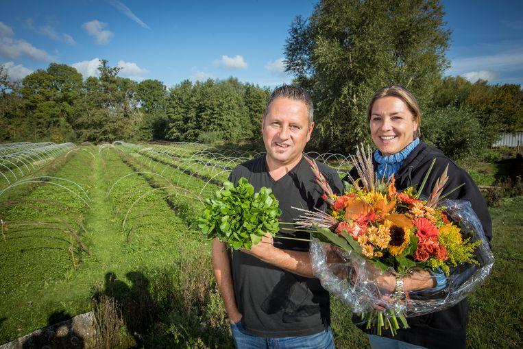 Frank en Christel Vansimpsen in hun waterkerskwekerij in Tongeren.