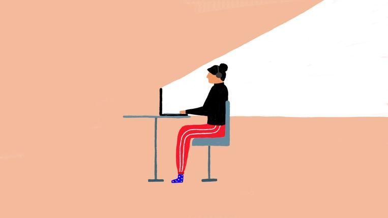 Het lekkere aan thuiswerken:de godganse dag in een joggingbroek lopen, zonder dat iemand het doorheeft Beeld Sophia Twigt
