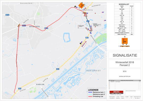 Onderhoudswerken en omleidingen op N14 in kaart.