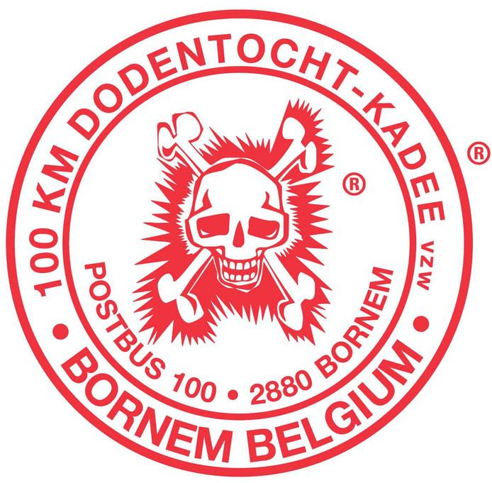 """Le fameux logo de la """"Dodentocht"""" (ou """"marche de la mort"""")."""