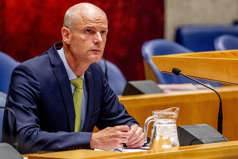 Minister Stef Blok tijdens het Kamerdebat over mishandeling van gevangenen in Uruzgan. Beeld ANP Robin Utrecht