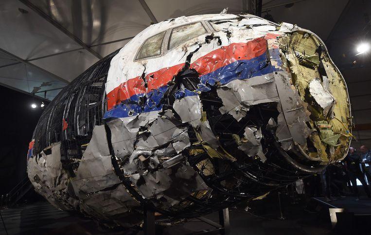 De resten van het MH17-toestel. Beeld AFP
